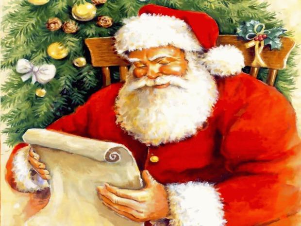 Fondo de pantalla papa noel con su lista de regalos
