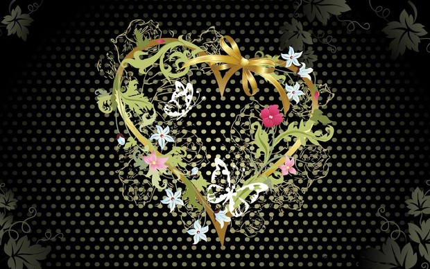Corazón oro y negro