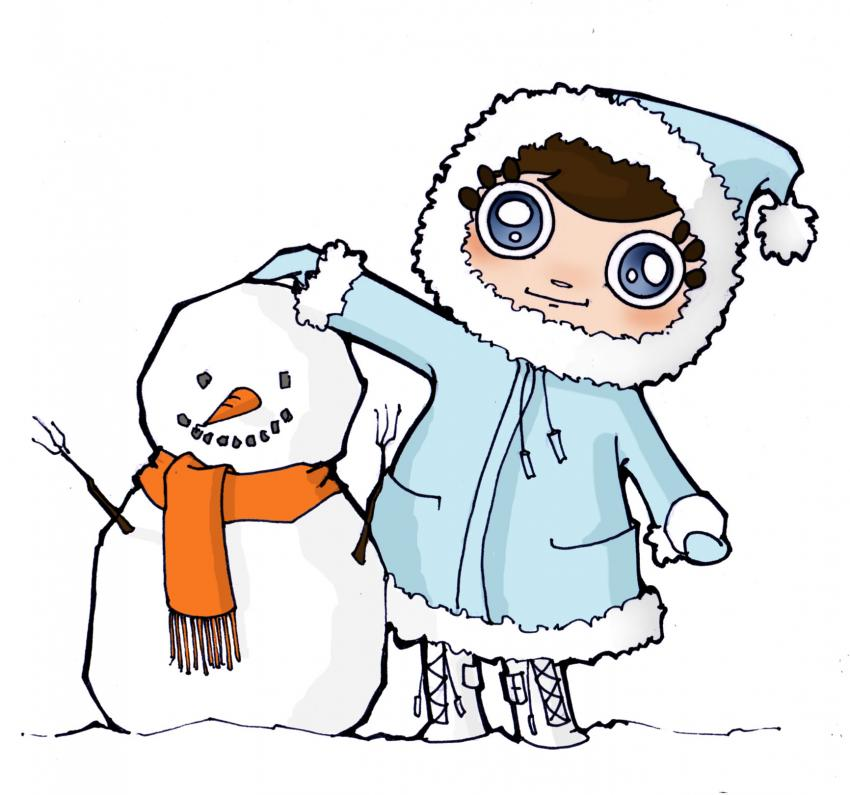 Aprender a dibujar muñeco y bola de nieve - es.hellokids.com