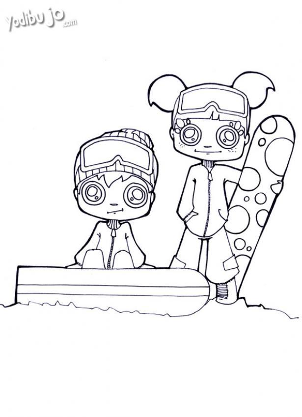 Dibujos para colorear esqui niño - es.hellokids.com