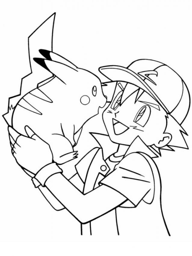 Dibujos para colorear pikachu con ash - es.hellokids.com