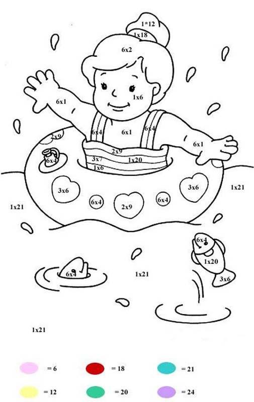 Baños Infantiles Para Colorear:Multiplication Coloring Pages