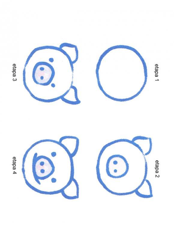 Modelos de ANIMALES para dibujar - CABEZA DE CERDO