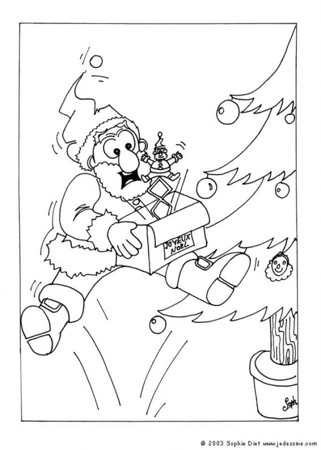 Dibujos para colorear papa noel con lista de regalos - es.hellokids.com