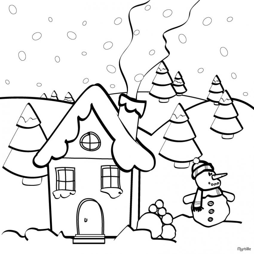 dibujo para colorear casa de navidad