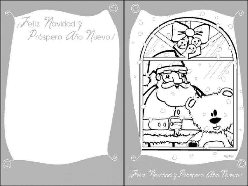 tarjeta para navidad papa noel la ventana