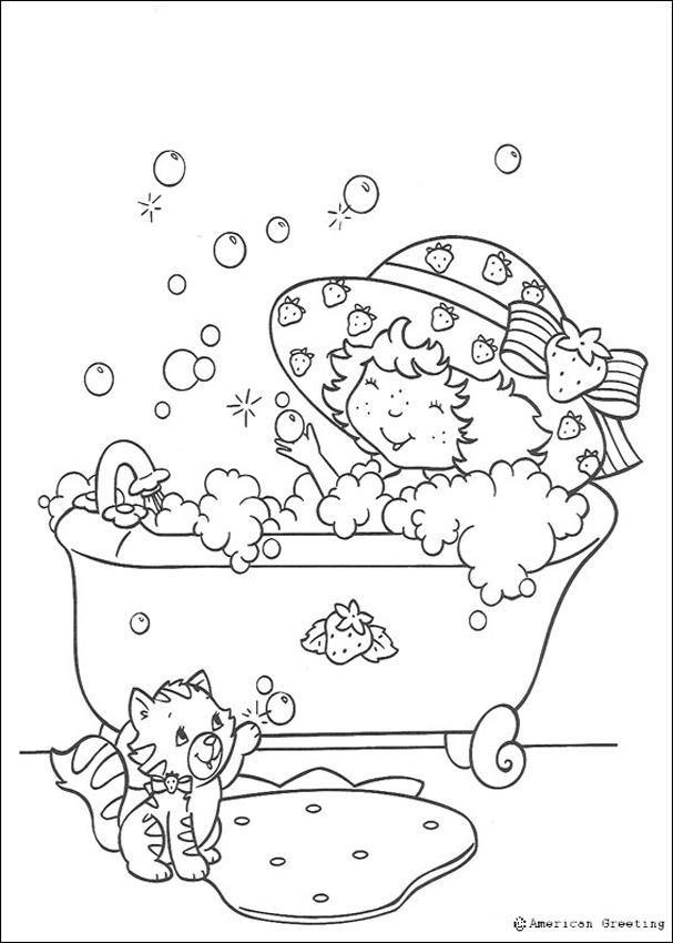 Trata de Fresa bañándose - Tarta de fresa para colorear