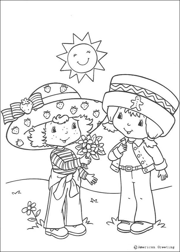 Dibujos para colorear tarta de fresa con una mariquita  es
