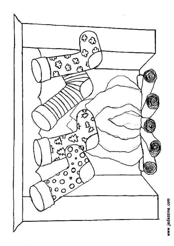 Dibujos para colorear navide o de la chimenea con - Dibujos de chimeneas de navidad ...