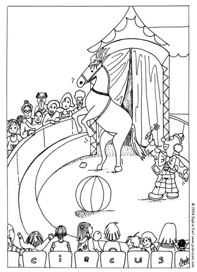 Circo para colorear, caballo y payaso para imprimir