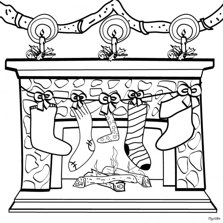 Dibujo para colorear : Calcetines en la chimenea de Navidad