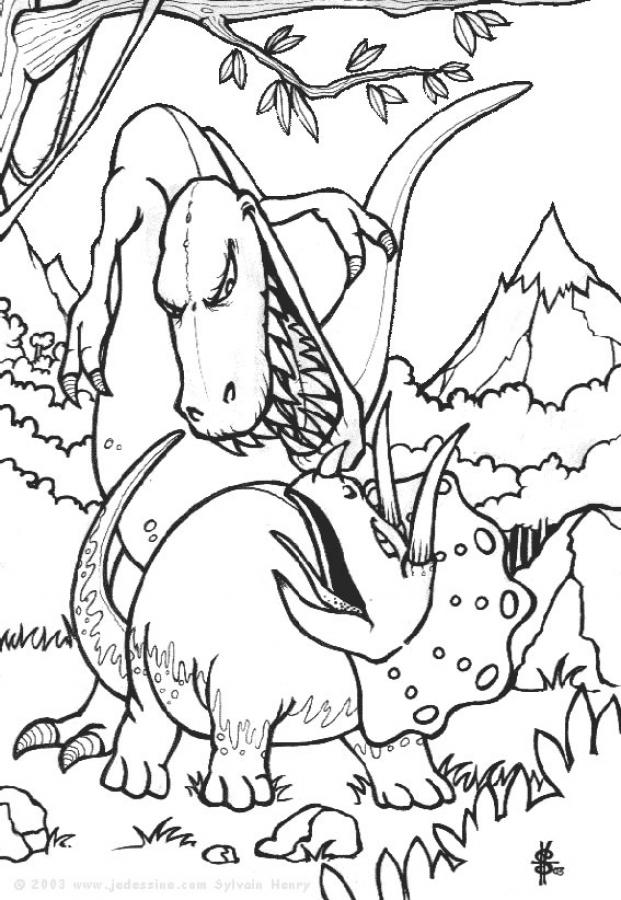 Dinosaur Fight Coloring Page