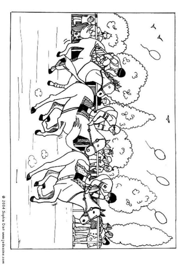 Dibujo para colorear : una carrera de caballos
