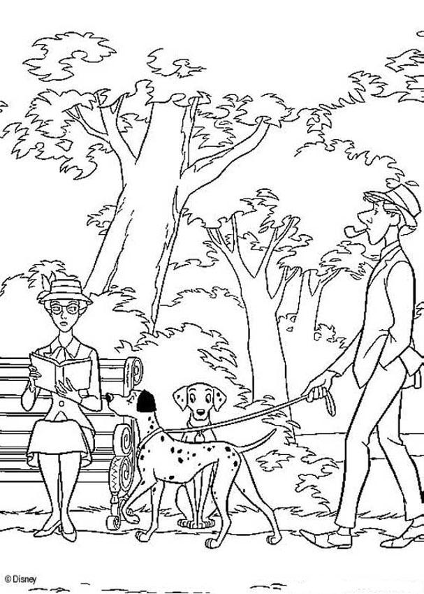 En el parque - Dibujos para colorear 101 DALMATAS