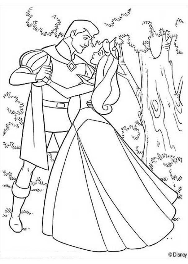 Dibujos para colorear aurora y el príncipe - es.hellokids.com