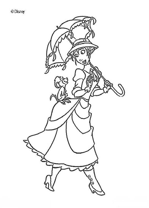 Dibujos para colorear jane y el babuino manu - es.hellokids.com