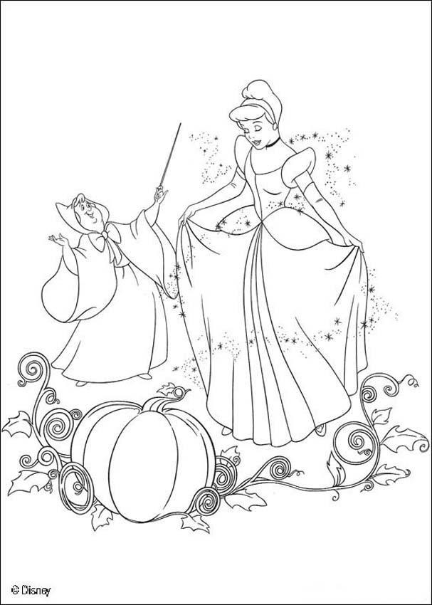 Dibujos para colorear la cenicienta con su madrina  eshellokidscom