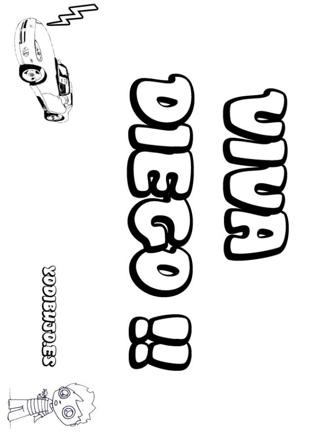 Dibujos para colorear diego coche - Nombres de ninos para colorear ...