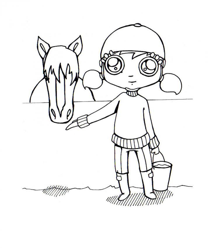 Dibujo para colorear : equitacion