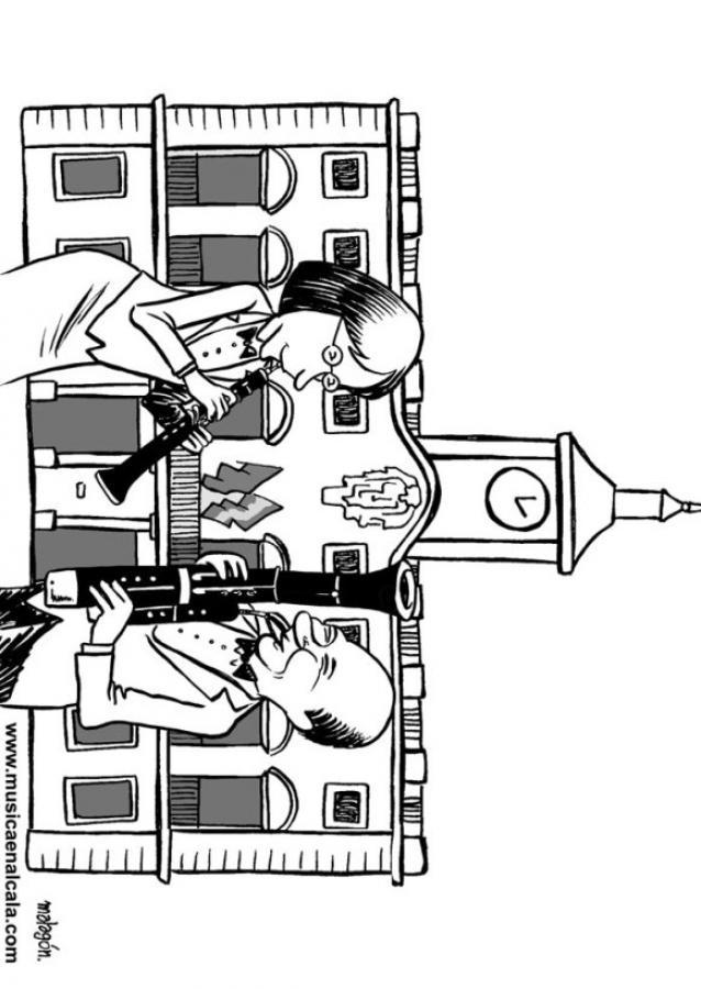 Dibujos para colorear fagot y oboe en el ayuntamiento - es.hellokids.com
