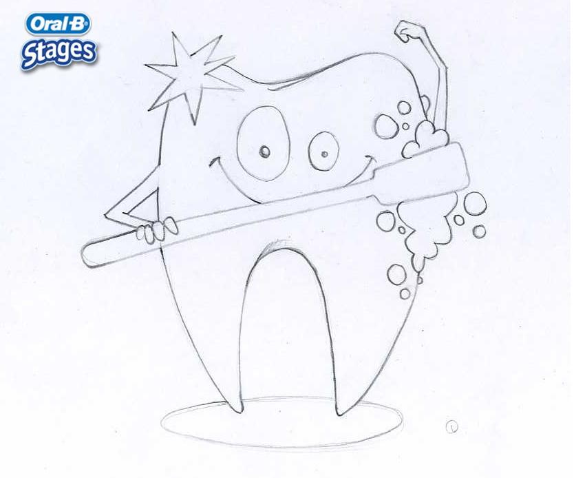 Dibujo para colorear : Hermosa diente