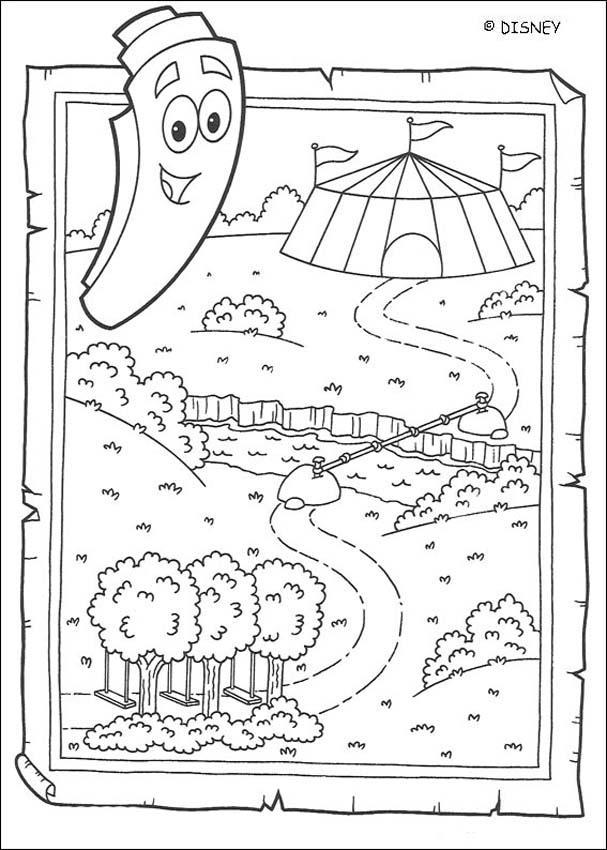 Dibujos para colorear el mapa for Dora the explorer map template