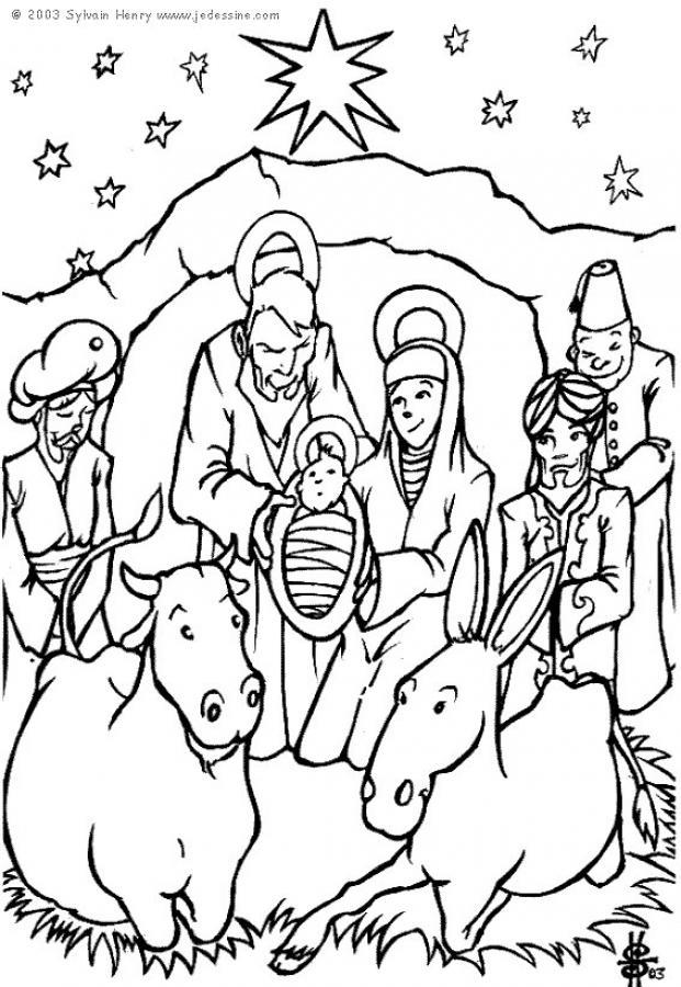 Dibujos para colorear el belen de navidad - es.hellokids.com