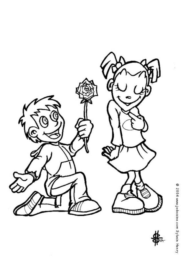 Dibujos para colorear los pretendientes enamorados - es ...