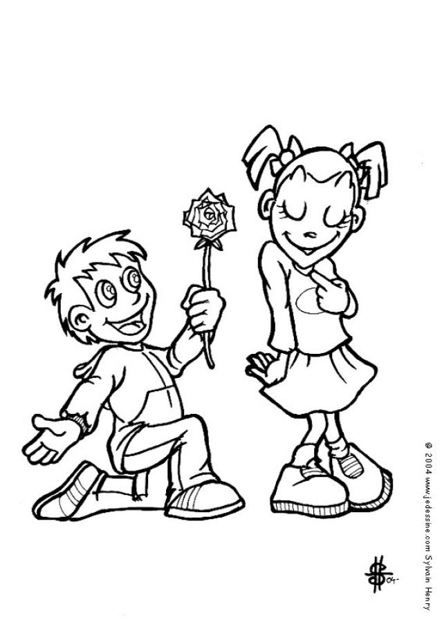 La flor del amor - Dibujo para colorear SAN VALENTIN gratis