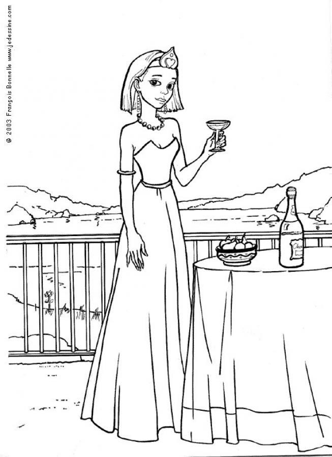 Dibujo para colorear : Ceremonía para la Princesa