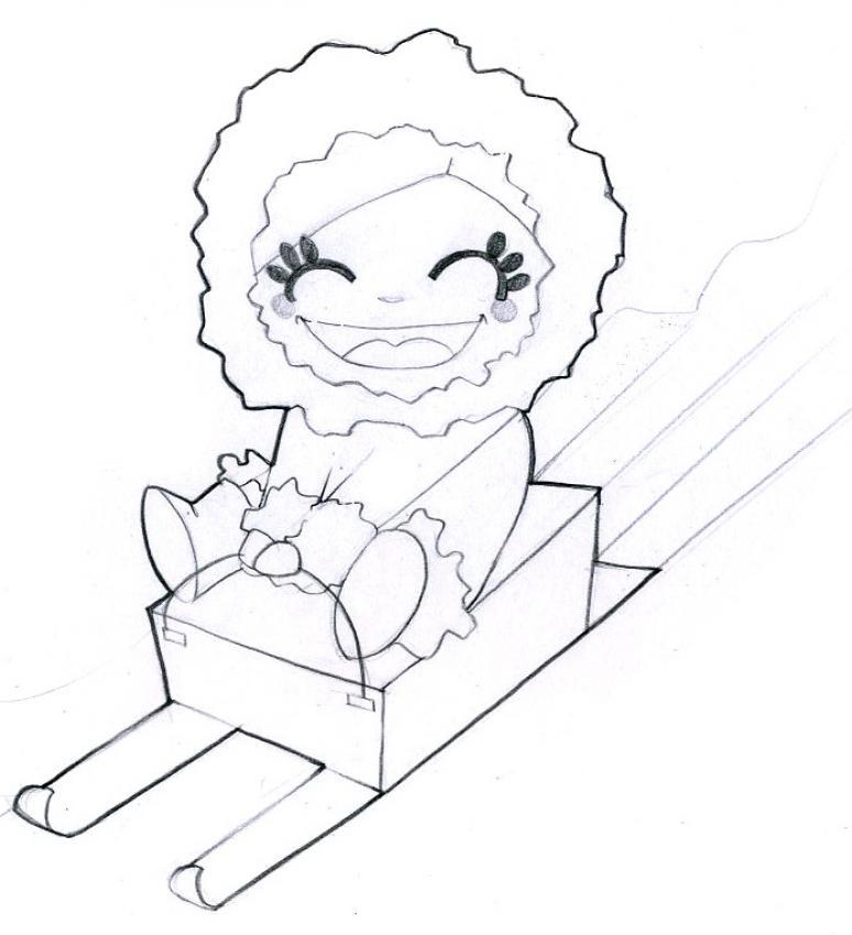 Dibujos para colorear un duende de navidad en el pequeño trineo - es ...