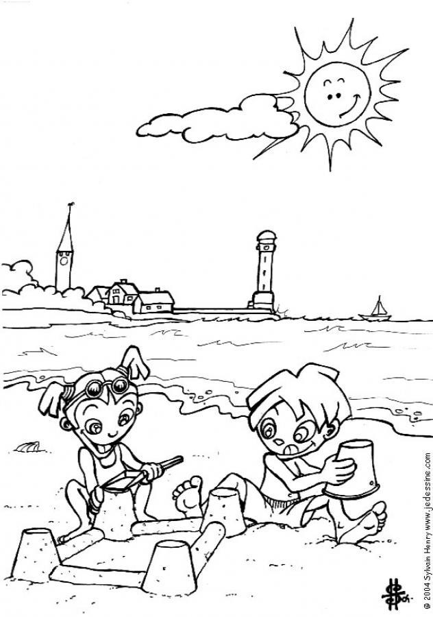 La playa - Colorear las 4 temporadas