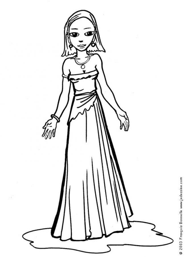 Dibujo para colorear : Princesa elegante