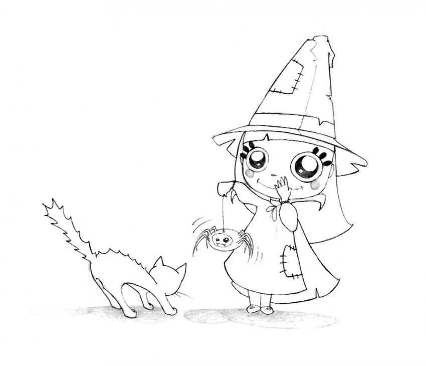 Dibujos para colorear el gato asustado de halloween - es.hellokids.com