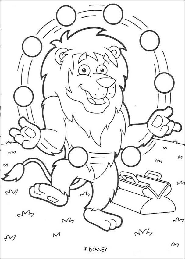 Dibujos para colorear el león malabarista 2 - es.hellokids.com
