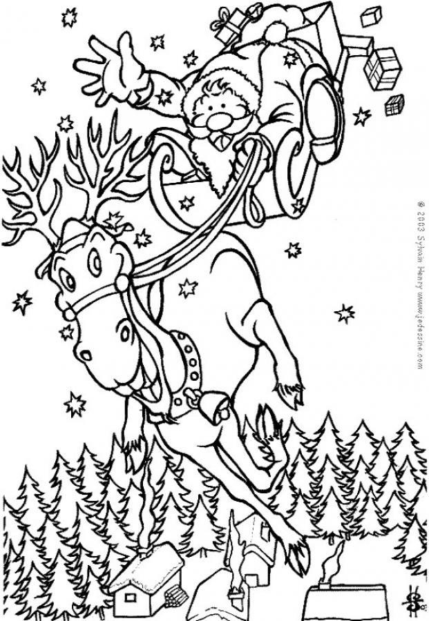el pap noel en su reno dibujos para colorear y pintar dibujos para colorear
