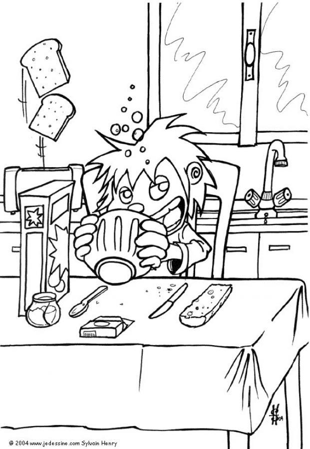 Dibujo para colorear : El desayuno