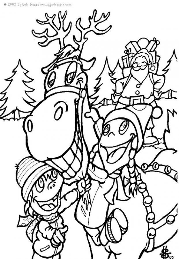 Dibujos para colorear reno del pap noel  eshellokidscom