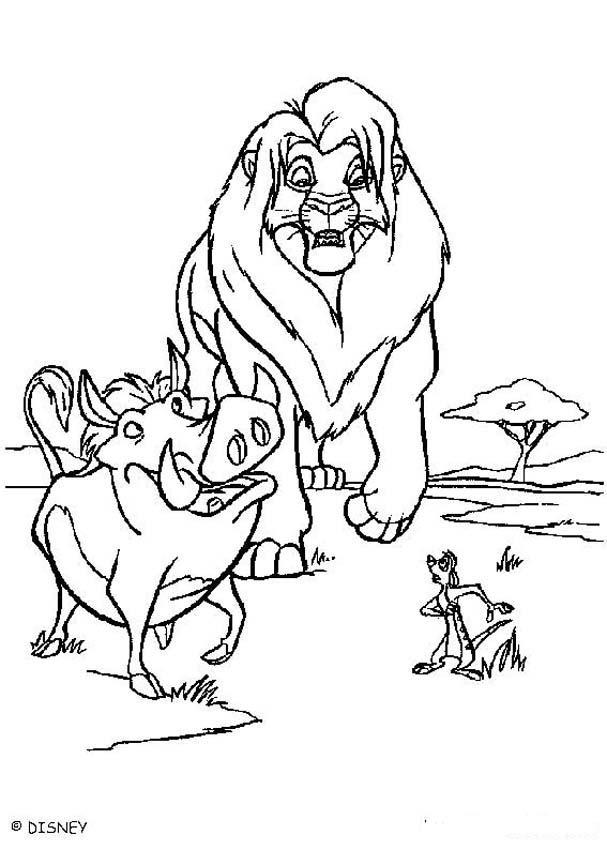 Dibujo para colorear : simba, Timon y Pumba