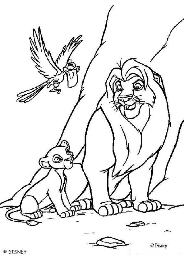 Dibujos para colorear los leones mufasa y simba y zazú el ave - es ...