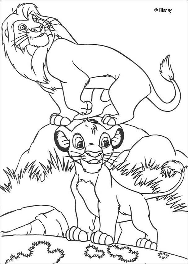 Dibujos para colorear mufasa y simba - es.hellokids.com