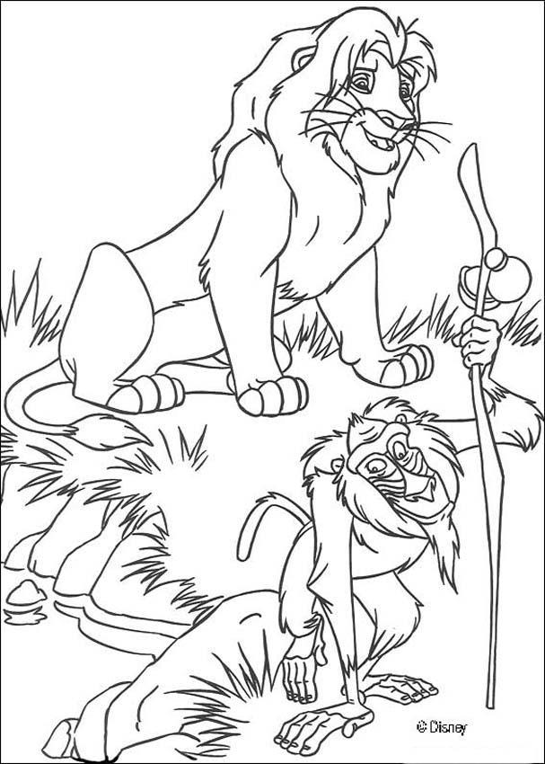 Dibujos para colorear simba con rafiki el mandril - es.hellokids.com