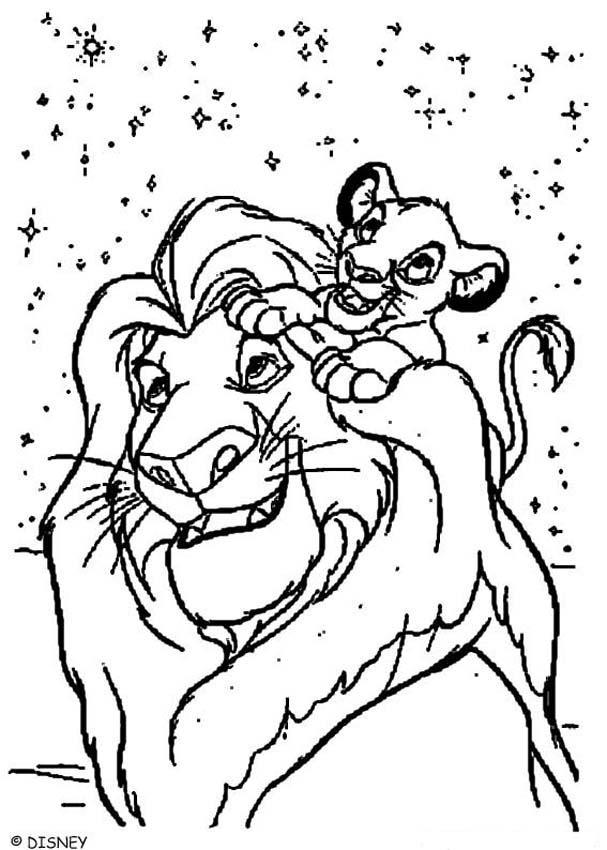 Dibujos para colorear los leones simba y mufasa - es.hellokids.com