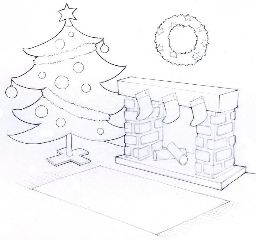 Dibujos para colorear arbol de navidad con la chimenea - Dibujos de chimeneas de navidad ...