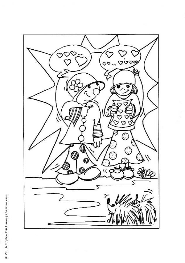 Dibujo para colorear : Los galanes enamorados