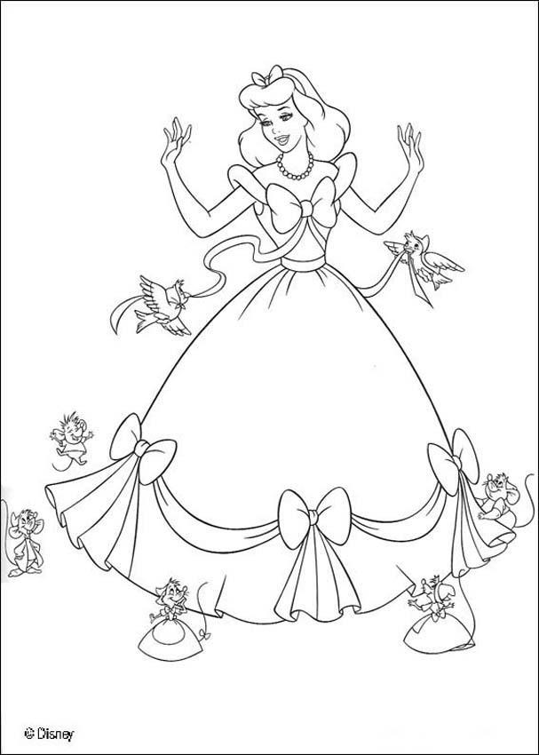 Dibujos para colorear la CENICIENTA - 9 imagenes Disney de la Cenicienta