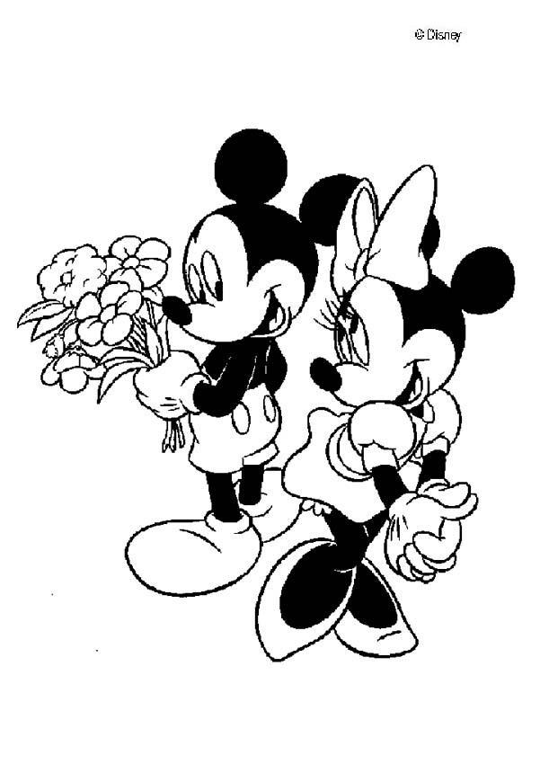Dibujos para colorear mickey y minnie los enamorados - Minnie y mickey bebes para colorear ...