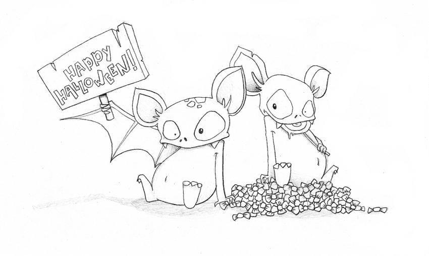 Dibujo para colorear : Los murciélagos de Halloween