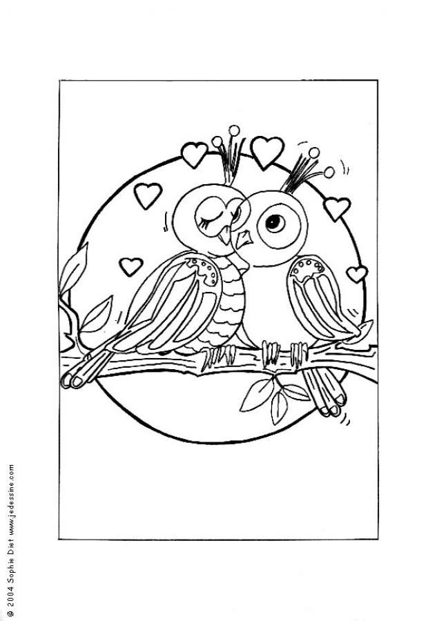 Dibujo para colorear : Pájaros enamorados
