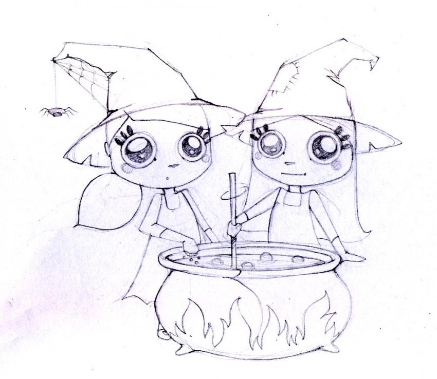 Dibujos para colorear las brujas gemelas - es.hellokids.com